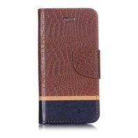 iphone krokodilabdeckung großhandel-Spleiß farbe brieftasche case für iphone 6 6s filp abdeckung krokoprägung pu leder handy taschen neueste mode