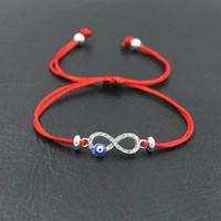 ingrosso braccialetto rosso infinito-BPPCCR Cubic Zirconia Digital 8 Infinity Lucky Red Rope Fascino String Braccialetti di Fascino Per Le Donne Evil Eye Pulseira Lovers Regali