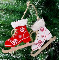 Wholesale shoes pendants online - New Festive Christmas Painted Decorative Pendant Christmas Tree Innovative Skates Ski Shoes Pendant Christmas Home Door And Tree Decorations