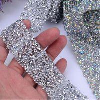 motiv kleider großhandel-1 Yard Hot Fix Glitter Kleid Strass Motive Band Kristall Eisen auf Patches Applique Hotfix Strass Nähen Stoff 3cm breit