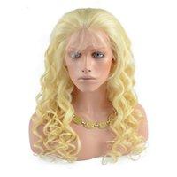 perruques avant en dentelle blanche achat en gros de-613 Blonde Lace Front Perruques de Cheveux Humains Pour Les Femmes Blanches Vague Lâche Brésilienne Vierge Cheveux Full Lace Perruques Avec Bébé Cheveux Natural Hairline