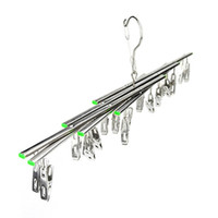 Wholesale Folding Clothes Hanger Rack - Practical Thicken Clothes Hangers Rust Proof Corrosion Resistant Folding Socks Racks Stainless Steel Telescopic Hanger Silver 6 5qx B
