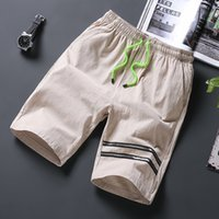 Wholesale Thin Male Body - LEFT ROM 2018 fashion men stretch Waist circumference Pure color Cotton linen shorts male leisure Thin body comfortable shorts