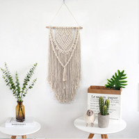 New Hand Knotted Macrame Wall Art Handmade Cotton Wall Hanging Tapestry with Lace Fabrics Bohemian Wedding Decoration