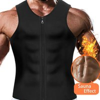 xxl shapewear toptan satış-Erkekler Sauna Koşu Yelek Tankı Üstleri Shapewear Zayıflama Azaltma Şekil Bodysuits Karın Kontrol Vücut Eğitmen Kilo Kaybı Yağ Yakma