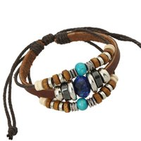 Wholesale bracelet accessories korea for sale - Korea Style Jewelry Accessories Beaded Wrap Leather Bracelet Bangle For Women Men Jewelry Metal Wooden Beads Charms Braided Rope