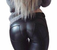 pantalones de cuero de imitación negro de las mujeres al por mayor-1 unids Moda Venta Caliente Delgado Mujeres Biker Skinny Pantalones de Cuero Pantalones Leggings Negro PU Señora Pantalones S - XXXL AP190