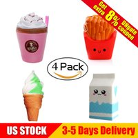 Wholesale ice cream drinks - Squishy Collection 4pcs Slow Rising Bread Scented Squishies French Fries Ice Cream Cute Cartoon Milk Drinks Kawaii Squishy Toys
