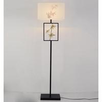 pintura moderna china venda por atacado-China lâmpada de assoalho antigo Pano luz do assoalho do hotel Luz de pé Modern retro Mão pintada de bambu estudo quarto Casa lighing G409