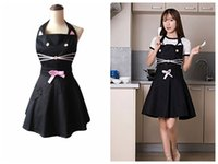 Wholesale salon aprons wholesale - Cute Cat Cartoon Kitchen Apron Black Cotton Restaurant Work Waitress Salon Hairdresser Woman Cooking Dress DDA489