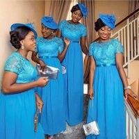 Wholesale Ocean Blue Gowns - ocean Blue Chiffon Lace Bridesmaid Dresses For Black Girls Nigeria South African Weddings 2018 New Cap Sleeves Appliques Maid of Honor Gowns
