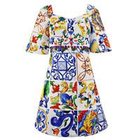 keramik kristall perlen großhandel-Milan Runway Dress 2018 Herbst Square Neck kurzen Ärmeln Damen Kleid Keramik Print Perlen Kristalle Marke Kleid DH082208