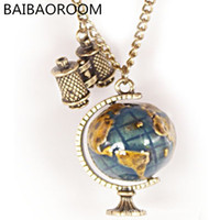 Wholesale telescope necklaces - wholesale 2016 vintage New Fashion Hot-Selling Globe Telescope Ball necklaces & pendants Women Sweater Chain Gifts girls 0135