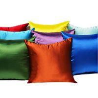 fundas de almohada sofá al por mayor-Funda de Almohada Emulación Seda Color puro Funda de almohada simple Satinado Sofá Mantiene Almohadas Funda de cojín Trasero