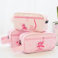 pluma rosa kawaii al por mayor-Kawaii Canvas Panther Pink Blue School Estuche de lápices Cute Student Pen Bag Papelería Bolsa de almacenamiento Material de oficina Regalo para niñas