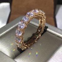 ingrosso bande di anelli di nozze infiniti-3 colori Lovers infinity Band ring 925 Sterling silver Fedi nuziali di fidanzamento per donna uomo 4mm 5A zircone cristallo Bijoux