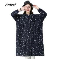 58aa48aa799ed Nova moda primavera outono cotton linen vintage print plus size Casual  longo solto blusas femininas camisa blusa das mulheres 2018 topos