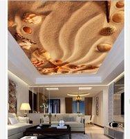 sala de areia venda por atacado-3d papel de parede personalizado foto teto mural papel de parede amarelo areia praia shell starfish zenith teto sala de estar mural grande papel de parede estrelado