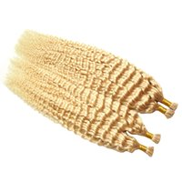 ich kippte menschliche haarverlängerungen großhandel-200G Remy tiefes gelocktes Haar, das ich in den Menschenhaar-Verlängerungs-Bündeln # 613 Keratin verklebte europäisches Salon-Art-i-Spitze-wirkliches Haar kippen