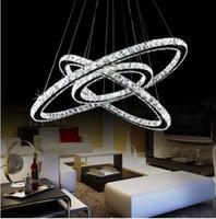 кольцо с бриллиантами оптовых-Горячие продажи горячей продажи Кристалл бриллиантовое кольцо светодиодные хрустальная люстра свет современный Кристалл подвесной светильник 3 круга разного размера позиции