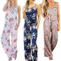 Wholesale Brown Jumpsuits Women - Women Spaghetti Strap Floral Print Romper Jumpsuit Sleeveless Beach Playsuit Boho Summer Jumpsuits Long Pants 3 Colors OOA4330