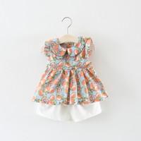 Wholesale Korean Cute Tops - Baby Girls Lemon Tops+Pants Set Summer 2018 Kids Boutique Clothing Korean 1-4T Little Girls Ruffle Sleeves Tops Shorts 2 PC Set