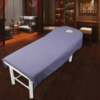 Wholesale Table Sheets - 80*190cm Cosmetic salon sheets SPA massage treatment bed table cover sheets with hole Sheet free shipping