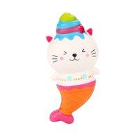 sevimli denizkızı oyuncağı toptan satış-15 cm Sevimli Jumbo Kedi Kitty Mermaid Dondurma Squishy Yavaş Yükselen Yumuşak Sıkmak Askı Kokulu Kek Ekmek Çocuk Oyuncak Eğlenceli hediye 2018