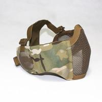 masque de masques airsoft achat en gros de-Masque pliable tactique de maille avec la protection d'oreille pour le Paintball d'Airsoft avec la ceinture de ceinture élastique réglable