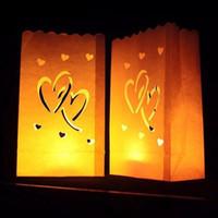 ingrosso sacchetti di tè leggeri-Wedding Heart Tea Light Holder Happy Birsthday Lanterna di carta Portacandele Home Romantico Decorazione per feste di matrimonio