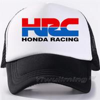 ingrosso fresca auto da corsa-Uomini nuovi Cool Trucker Caps HRC Honda auto da corsa per motociclisti Fans Cap Cool Summer Baseball Mesh Net Cappello Hip Hop per gli uomini
