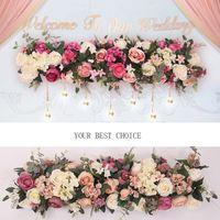 çeşitli tipler toptan satış-Yapay Çiçek Avrupa Uzun Sıra Çiçekler Düğün Kemer Yol Kurşun Tüm Çeşitli Türleri Dekorasyon Ev Otel Parti Dekor Için