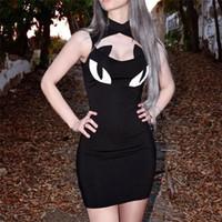 schwarze katzenverein großhandel-Schwarz Punk Gothic Kleider Frauen Gothic Symbol Katze Augen Gedruckt Chic Brust Aushöhlen Sleeveless Dünnes Minikleid