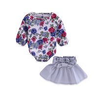 Wholesale baby girl clothing wholesale online - Baby Girls Romper Skirt Suit Baby Clothing Sets Floral Romper Jumpsuit Bow Elastic Band TUTU Skirt Spring Autumn Summer M