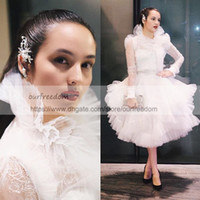 Wholesale Maternity Tea Party Dresses - Ashi Studio 2018 High Neck Prom Dresses With Long Sleeve Tea Length Lace Formal Evening Occasion Dresses Party Gown Custom Made