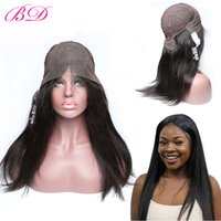 Wholesale virgin human hair wigs sale online - BD Straight Human Hair Wigs Glueless Lace Front Wigs Brazilian Virgin Hair Wigs Natural Hairline Density Hot Sale