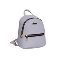 sahte deri okul çantası toptan satış-2018 Yeni Kadın Kızlar Mini Faux Deri Sırt Çantası Sırt Çantası Çanta Yeni Okul Kitap Çantası Seyahat Katı Fermuar Kitap Kızlar Için Sıcak