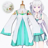 ingrosso vestito dal costume del giapponese-Asiatica Misura Japan Anime Re: a manica lunga Zero Kara Hajimeru Isekai Seikatsu Emilia Cosplay Costume Party Uniformi vestito verde