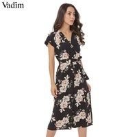 Wholesale vintage playsuits - Vadim V neck vintage floral wrap jumpsuits wide leg pants bow tie sashes elastic waist rompers short sleeve casual playsuits