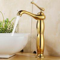 luxus wasserhahn großhandel-Waschtischarmaturen Euro Gold Waschbecken Wasserhahn Luxus Hoch Bad Waschbecken Wasserhähne Einhand Vanity Einlochmontage Mixer Wasserhähne