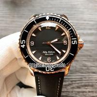 ingrosso orologi 52 mm-Fifty Fathoms 50 Fathoms 5015-3630-52 Giappone Miyota 8215 quadrante nero automatico orologio da uomo cinturino in pelle oro rosa orologi da uomo