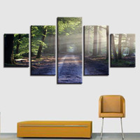 Wholesale psychedelic art - Wall Art HD Print Poster 5 Pieces Psychedelic Sunshine Forest Trees Landscape Canvas Painting Pictures Modular Living Room DecorCanvas Pictu
