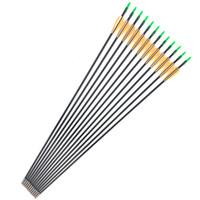 setas emplumadas venda por atacado-Linkboy tiro com arco 6 pcs 30 polegadas ID4mm flecha de fibra de vidro com laranja branco pena para recurvo arco longo prática caça tiro com arco