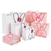 sacs gif achat en gros de-Fleurs lapin Craft Paper Meilleur Sac Cadeau Bonbons Alimentaire Cadeau Sacs pour Noël Faveurs De Mariage Baby Gift Box Gif 0119