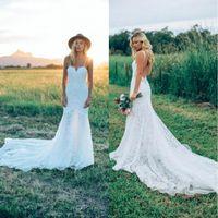 Wholesale Sweetheart Mermaid Petite Wedding Dress - Bohemian Spaghetti Straps Mermaid Wedding Dresses 2018 Full Lace Sweetheart Sexy Backless Summer Beach Garden Bridal Gowns BA6660