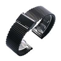 reloj de hebilla de gancho al por mayor-Moda 20/22 mm negro malla de acero inoxidable reloj banda gancho hebilla correa simples mujeres hombres relojes pulsera de reemplazo