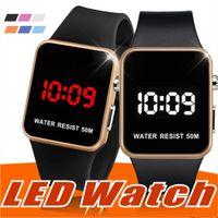спортивные наручные часы оптовых-Мода LED Часы Мужчины Женщины Спорт Цифровые наручные часы Календарь Дата Силиконовые водонепроницаемые часы Зеркало Будильник Наручные часы