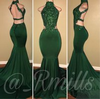 yeşil mermaid backless boncuklu balo elbisesi toptan satış-Koyu Yeşil Mermaid Gelinlik Modelleri Uzun 2018 Payetli Boncuklu Seksi Backless Jewel Boyun Dantel Aplike Kat Uzunluk Örgün Elbiseler Abiye