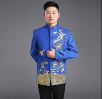kırmızı çince elbiseleri toptan satış-Çinli erkek giyim Geleneksel Damat düğün Çin Antik Kostüm Mavi Kırmızı Tunik Tang Takım elbise Pamuk nakış Üst