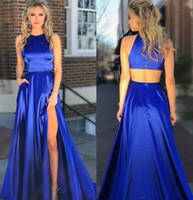 Wholesale party dresses sides cut out resale online - 2019 Long Royal Blue Prom Dresses Cut Out Back High Slit Side Full Length Sexy Hollow Back Sleeveless Custom Made Stylish Party Evening Gown